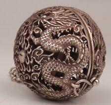 CHINESE TIBET SILVER PENDANT INCENSE BURNER BALL DRAGON PHOENIX SACRED OLD