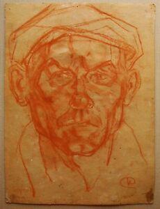 Russian Ukrainian Soviet Painting expressionism male worker portrait man cap