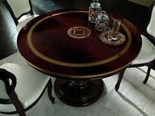 Luxury Mahogany Finish Italian Round Extension Dining Table With 4 Chairs