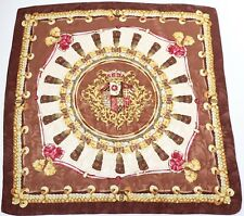 Silk Scarf Tudor Rose Baroque Vintage Brown Gold 90 x 90