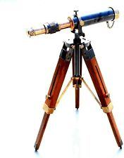 PIRU Brass Antique Telescope W/Wooden Adjustable Tripod Working Astrolabe Item.