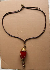 NEW AFRICAN RESIN RED CHARM CHAIN COPPER HANDMADE MULTISTRAND ETHNIC TRIBAL