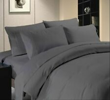 King Size Bed Sheet Set Gray Solid 1000 Tc Egyptian Cotton