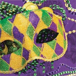Masks of Mardi Gras Luncheon Napkins Paper 16 Pack Mardi Gras Tableware Supplies