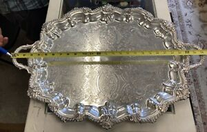 Vintage Silver on Copper 22.5 x 18.5 Footed Platter Butler Tray Serving Tea Set