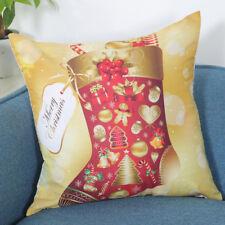 HOT Merry Christmas Print Pillowcase Linen Cotton Sofa Cushion Cover Home Decor