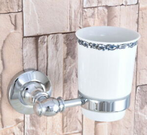 Silver Polished Chrome Brass Bathroom Toothbrush Holder Lace Ceramics Cup 2ba789