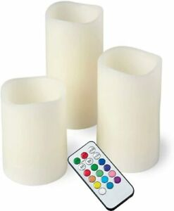3 LED Remote Control Flameless Wax Flickering Colour Changing Mood Candles Gifts