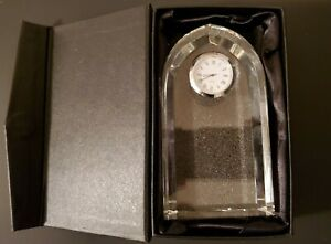New Optic Clear Crystal Glass Arched Clock Table Shelf Quartz Gift Box Faceted