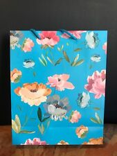 Blue Floral Paper Gift Bags Pink Flowers Retail Wholesale Job Lot Birthday Party