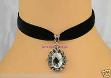 black velvet choker necklace Clear Glass Cabochon Jewel Pendant goth Victorian