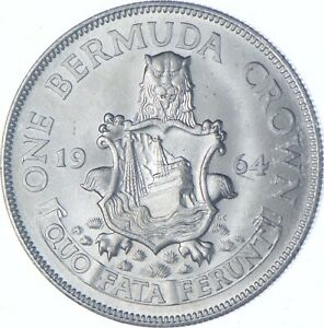Better Date - 1964 Bermuda 1 Crown - SILVER *094