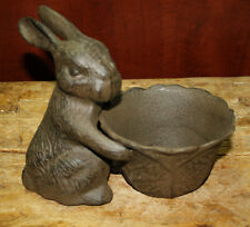 Cast Iron Easter Bunny Bowl Garden Statue Bird Feeder Rabbit Planter Birdbath