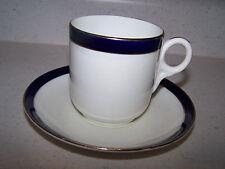 ANCHOR CHINA BRIDGWOOD ENGLAND COBALT BLUE TRIM DEMI TASSE CUP AND SAUCER