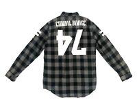 Criminal Damage Mens Shirt Flannel Grey Black Buffalo Plaid Casual Sz XL Cotton
