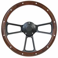 Volante S6 Sport Black Leather Steering Wheel Kit with Pony Emblem compatible with 1967-1973 Ford Mustang