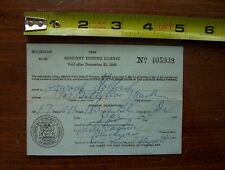 Vint.1942 Wwii World War2 Michigan Conservation Department Fishing License D.N.R
