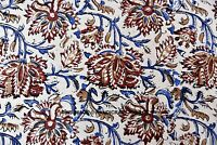 2.7m Indien Course Couture Tissu Coton Imprimé Kalamkaari Décor Main Bloc