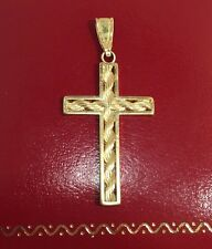 """MA Vintage 14k Yellow Gold Rope Chain CROSS Religious Pendant Estate Charm 1.5"""""""