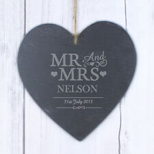 Personalised Mr&Mrs Wedding Slate Door Sign Large Heart Hanging Decoration Gift