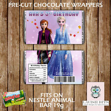 PERSONALISED FROZEN 2 ANIMAL BAR WRAPPERS PARTY FAVOURS GIFT BAGS DISNEY ANNA