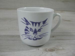 Dibbern Schönwald Kaffeebecher weiß mit Katze lila gut 300ml Fassungsvermögen