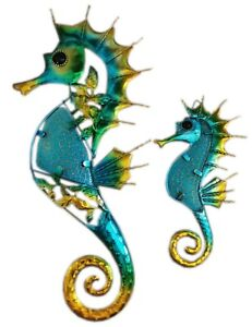 Stunning Glass & Metal Green Turquoise & Gold Seahorse Plaque 2 Sizes Home Decor