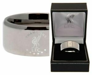 Liverpool FC S/Steel Champions Of Europe Band Ring S M L / R U X  Licensed Item