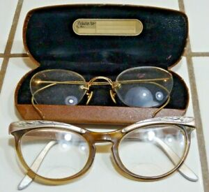 GOLD RECOVERY Lot (2) Old Eye Glasses 1 Case Bradenburg Rock Island IL 12K GF