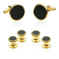 Tuxedo Cufflinks and Studs - Black Onyx with Gold Tone Direct from Cuff-Daddy
