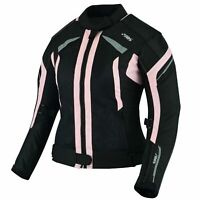 Damen Motorrad Jacke Motorradjacke Textil Schwarz Pink Gr. XS-2XL