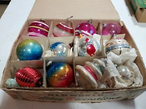 12 Vintage Unsilvered and Shiny Brite Glass Christmas Ornaments with stripes