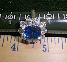Sterling 925 sz 9 sim Sapphire & Clear CZ Cocktail Ring R7504