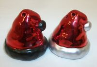Mini Metallic Christmas Santa Claus Hats Salt Pepper Shaker Set