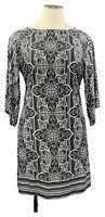 NY COLLECTION 3X black paisley stretch knit 3/4 sleeve scoop neck shift dress