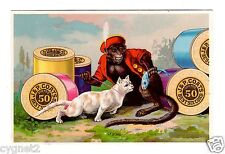 TRADE CARD U.S. MONKEY TEASES CAT WITH FISH 1881 J & P COATS THREAD ADVERTISING