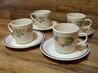 SET OF 4 - CORNING CORELLE - ABUNDANCE - COFFEE CUPS / MUGS & SAUCERS - EUC