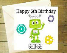Personalised robot bolts red card glitter detail age birthday greeting 4