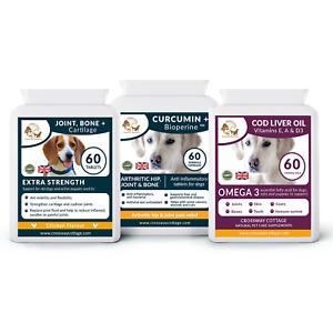 Joint & Arthritis Dog Supplement Bundle, Glucosamine, Curcumin and Cod Liver