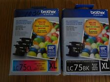 SET OF 4 NEW GENUINE BROTHER  LC 75 XL BK BLACK & LC75CL CYAN MAGENTA YELLOW INK