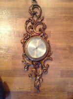 Fancy large vintage Syroco Wood Hollywood Regency wall Plaque barometer