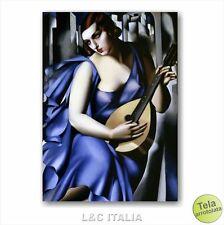 Tamara de Lempicka Donna che suona STAMPA TELA 50x70 RIPRODUZIONE QUADRO ARTE
