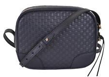 NEW Gucci 449413 Navy Blue Leather Micro GG Guccissima BREE Crossbody Purse Bag