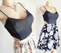 NEW NavyBlue OR Ivory Denim Crop Knit Cutout Top High Waisted Floral Skirt Dress
