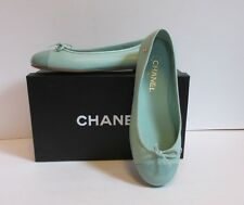 Chanel ballet flat light green captoe patent leather logo shoe bow 39.5 9.5 13C