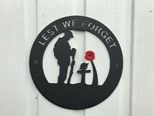 Lest We forget. 2mm Thick Metal Memory  Plaque Tommy Soldier & Poppy