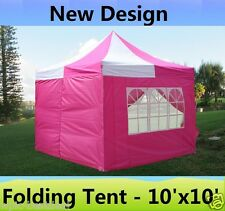 10' x 10' Pop Up Canopy Party Tent Gazebo EZ - Pink White - E Model