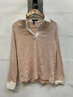 Women's Lauren Ralph Lauren Vintage Pink Jumper With Shirt & Collar Sz Medium M