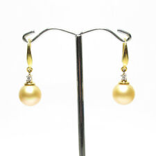 South Sea Pearl Earrings, 10mm pearls,18k gold, Natural Golden Pearls