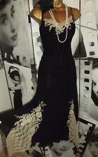 WALLIS ❤️Black Vintage 1920's Art Deco Beaded Flapper Lace Gatsby Dress 14
